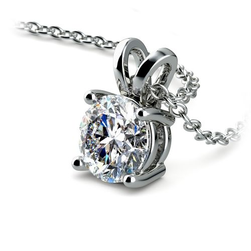 Round Diamond Solitaire Pendant in Platinum (1 ctw) | Image 03