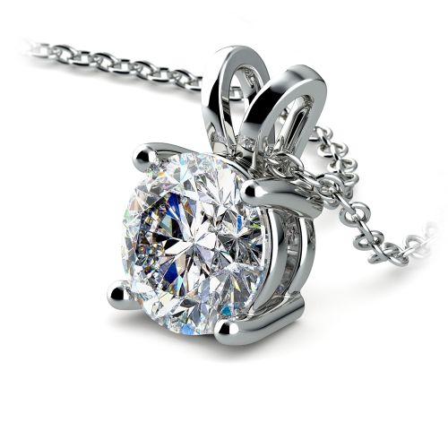 Round Diamond Solitaire Pendant in Platinum (2 ctw) | Image 03