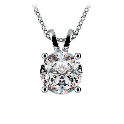 Round Diamond Solitaire Pendant in Platinum (3 ctw) | Image 01