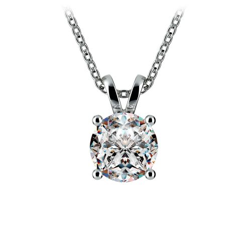 Round Diamond Solitaire Pendant in White Gold (1 1/2 ctw) | Image 01