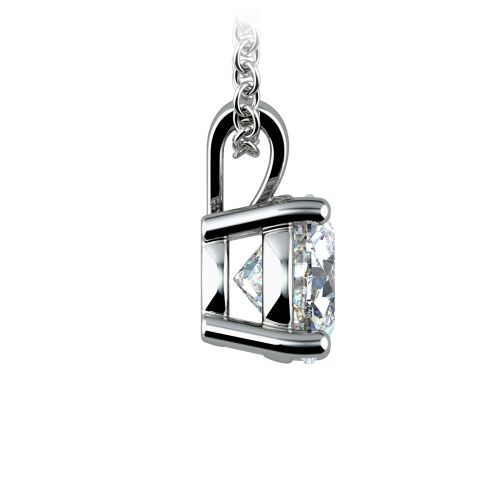 Round Diamond Solitaire Pendant in White Gold (1 1/2 ctw) | Image 02