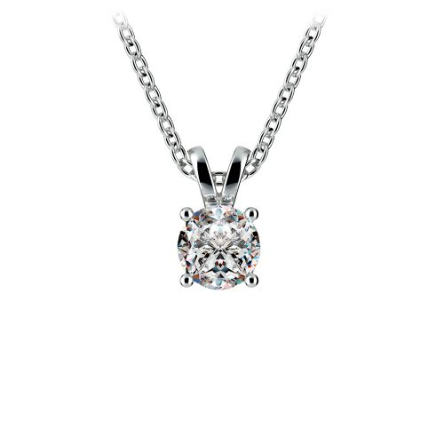Round Diamond Solitaire Pendant in White Gold (1/2 ctw) | Image 01
