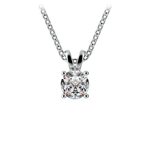 Round Diamond Solitaire Pendant in White Gold (1/2 ctw) | Image 01