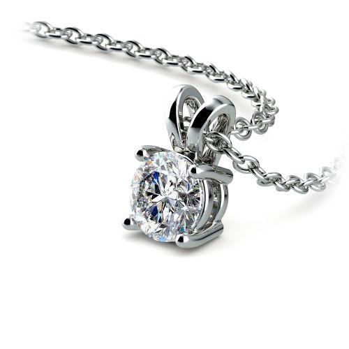 Round Diamond Solitaire Pendant in White Gold (1/2 ctw) | Image 03