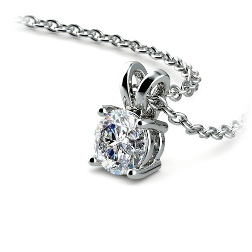 Round Diamond Solitaire Pendant in White Gold (1/2 ctw) | Image 03