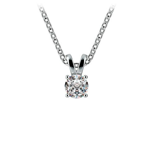 Round Diamond Solitaire Pendant in White Gold (1/3 ctw) | Image 01