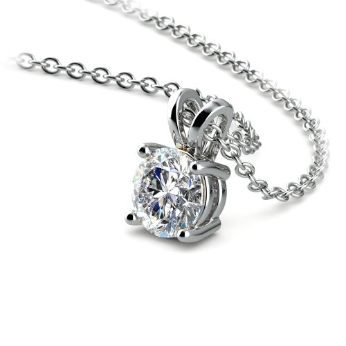 Round Diamond Solitaire Pendant in White Gold (1/3 ctw) | Image 03