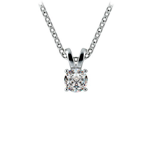 Round Diamond Solitaire Pendant in White Gold (1/4 ctw) | Image 01