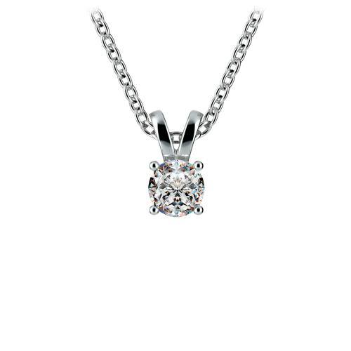 Round Diamond Solitaire Pendant in White Gold (1/5 ctw)   Image 01