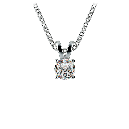 Round Diamond Solitaire Pendant in White Gold (1/5 ctw) | Image 01