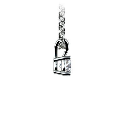 Round Diamond Solitaire Pendant in White Gold (1/5 ctw)   Image 02