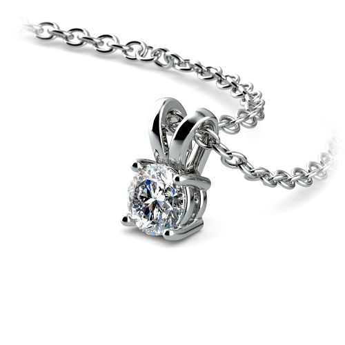 Round Diamond Solitaire Pendant in White Gold (1/5 ctw)   Image 03