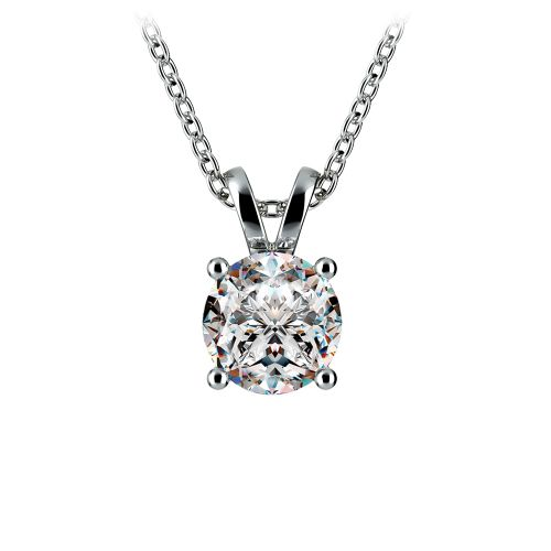 Round Diamond Solitaire Pendant in White Gold (1 ctw) | Image 01
