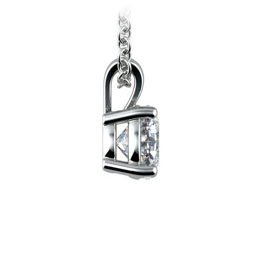 Round Diamond Solitaire Pendant in White Gold (1 ctw) | Image 02