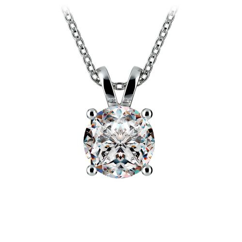 Round Diamond Solitaire Pendant in White Gold (2 ctw) | Image 01