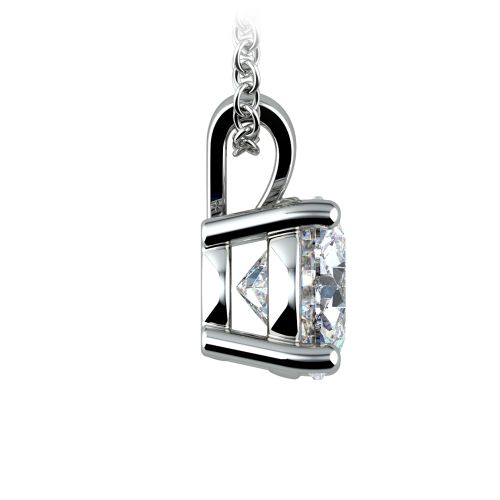 Round Diamond Solitaire Pendant in White Gold (2 ctw) | Image 02