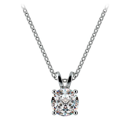 Round Diamond Solitaire Pendant in White Gold (3/4 ctw) | Image 01