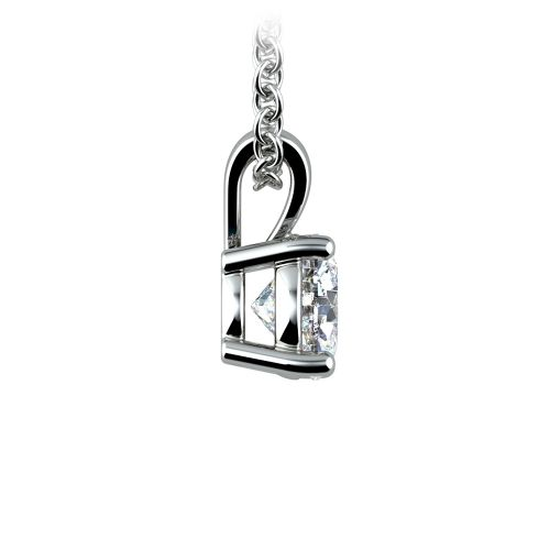 Round Diamond Solitaire Pendant in White Gold (3/4 ctw) | Image 02