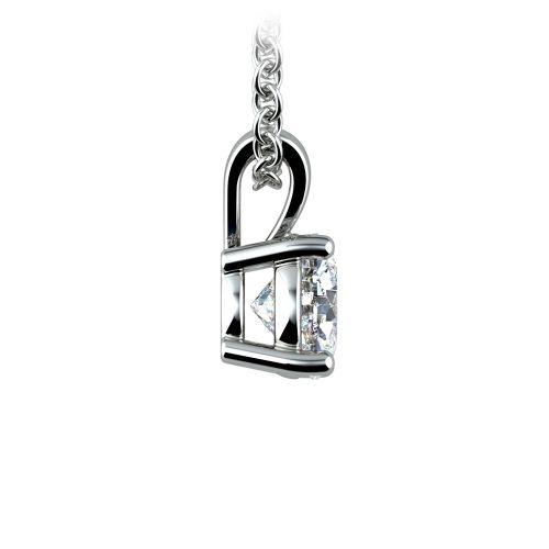 Round Diamond Solitaire Pendant in White Gold (3/4 ctw) | Image 02