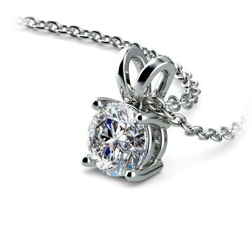 Round Diamond Solitaire Pendant in White Gold (3/4 ctw) | Image 03