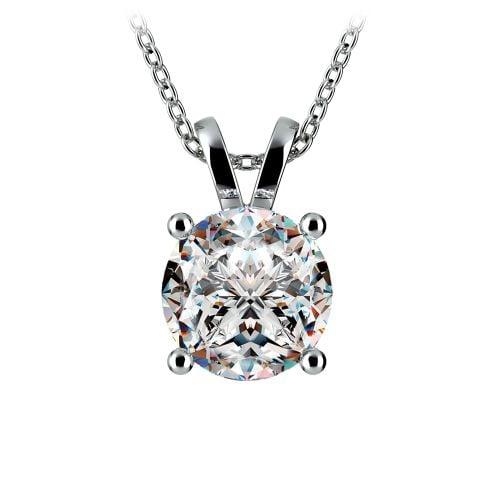 Round Diamond Solitaire Pendant in White Gold (3 ctw) | Image 01
