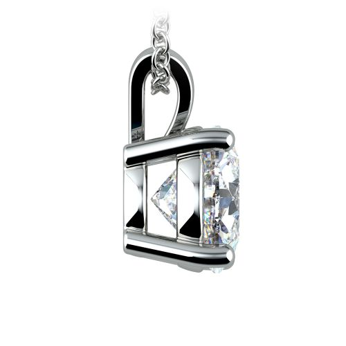 Round Diamond Solitaire Pendant in White Gold (3 ctw) | Image 02