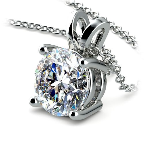 Round Diamond Solitaire Pendant in White Gold (3 ctw) | Image 03