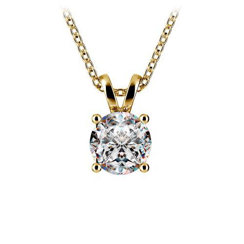 Round Diamond Solitaire Pendant in Yellow Gold (1 ctw) | Image 01