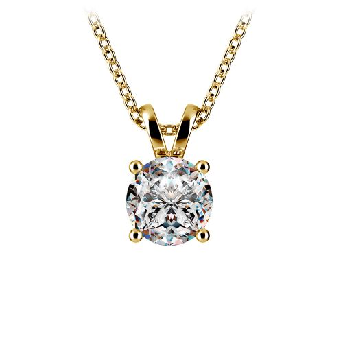 Round Diamond Solitaire Pendant in Yellow Gold (1 ctw) | Image 01
