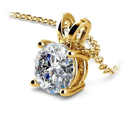 Round Diamond Solitaire Pendant in Yellow Gold (2 ctw) | Image 03