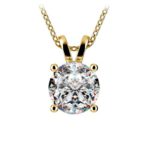 Round Diamond Solitaire Pendant in Yellow Gold (3 ctw) | Image 01
