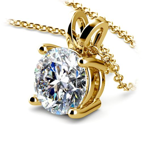 Round Diamond Solitaire Pendant in Yellow Gold (3 ctw) | Image 03