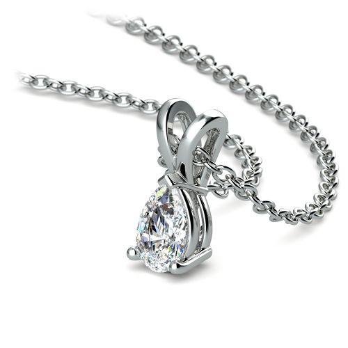 Pear Diamond Solitaire Pendant in Platinum (1/3 ctw) | Image 03