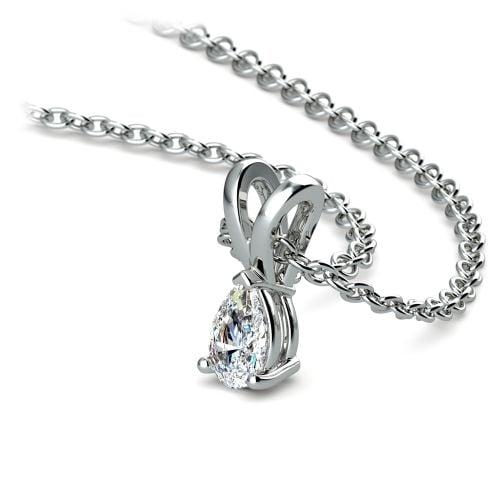 Pear Diamond Solitaire Pendant in Platinum (1/4 ctw)   Image 03