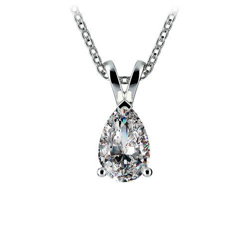 Pear Diamond Solitaire Pendant in Platinum (1 ctw) | Image 01