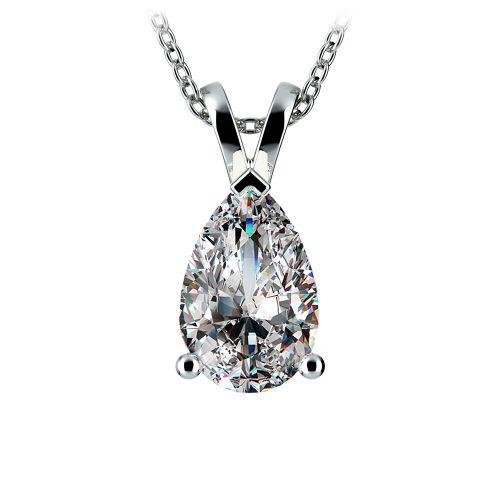 Pear Diamond Solitaire Pendant in Platinum (3 ctw) | Image 01