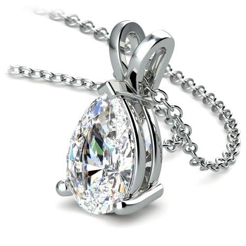 Pear Diamond Solitaire Pendant in Platinum (3 ctw) | Image 03