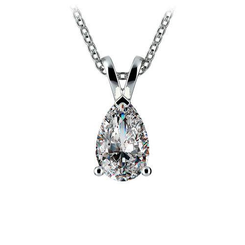 Pear Diamond Solitaire Pendant in White Gold (1 1/2 ctw) | Image 01
