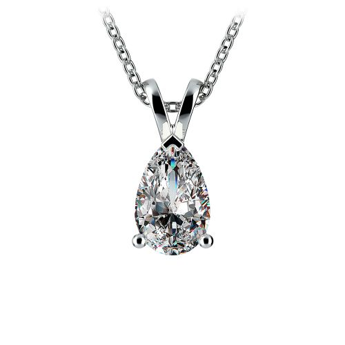 Pear Diamond Solitaire Pendant in White Gold (1 1/2 ctw) | Image 01