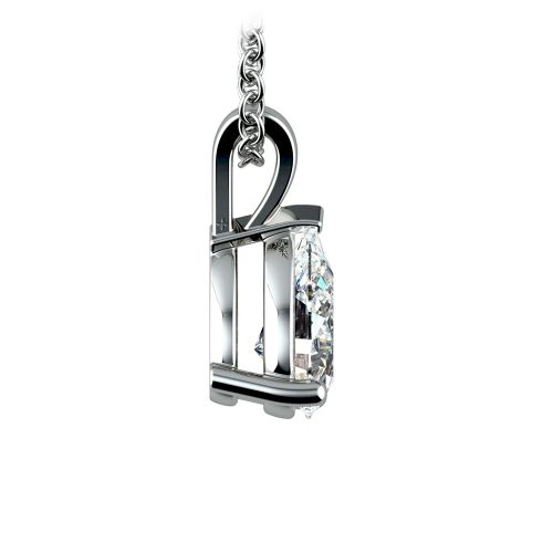 Pear Diamond Solitaire Pendant in White Gold (1 1/2 ctw) | Image 02