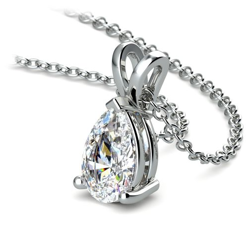 Pear Diamond Solitaire Pendant in White Gold (1 1/2 ctw) | Image 03