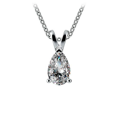 Pear Diamond Solitaire Pendant in White Gold (1/2 ctw) | Image 01