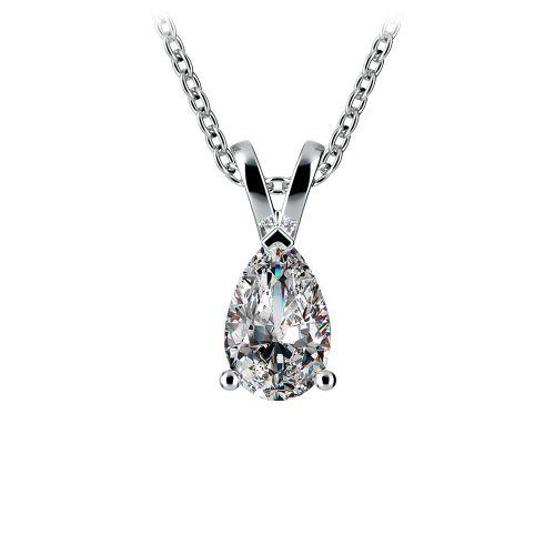 Pear Diamond Solitaire Pendant in White Gold (1/2 ctw) | Image 01