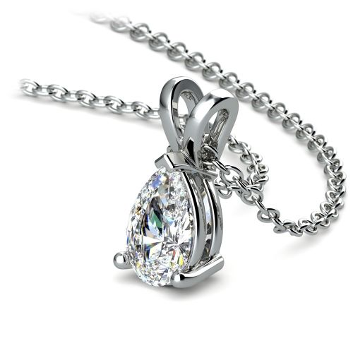 Pear Diamond Solitaire Pendant in White Gold (1/2 ctw) | Image 03