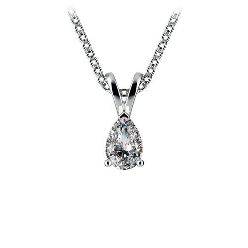 Pear Diamond Solitaire Pendant in White Gold (1/3 ctw) | Image 01