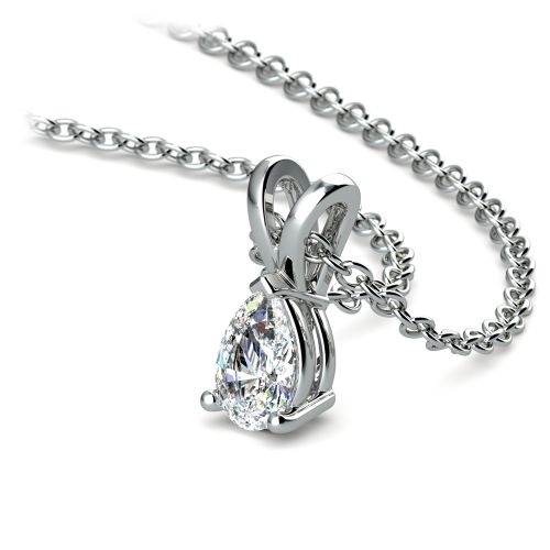 Pear Diamond Solitaire Pendant in White Gold (1/3 ctw)   Image 03