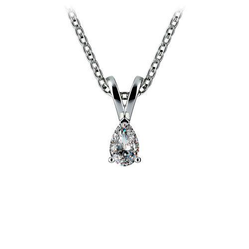 Pear Diamond Solitaire Pendant in White Gold (1/4 ctw)   Image 01