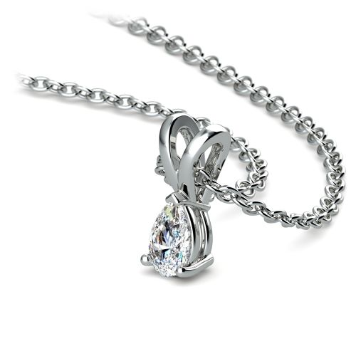 Pear Diamond Solitaire Pendant in White Gold (1/4 ctw) | Image 03
