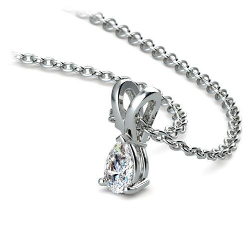 Pear Diamond Solitaire Pendant in White Gold (1/4 ctw)   Image 03