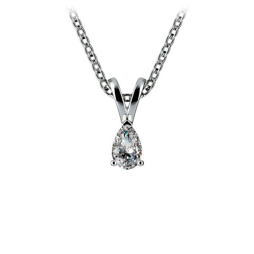 Pear Diamond Solitaire Pendant in White Gold (1/5 ctw) | Image 01